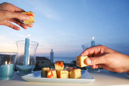 seaview: Hands reaching for diced vegetable frittata