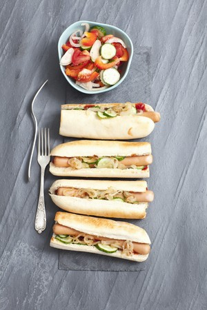 gherkins: Hot dogs with gherkins and onion relish LANG_EVOIMAGES