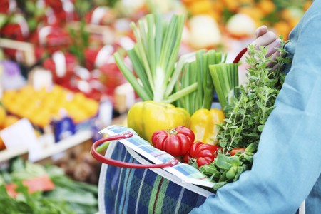 wild marjoram: Fresh vegetables in a checked shopping bag LANG_EVOIMAGES