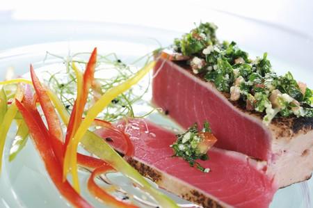 tunafish: Flash-fried tuna fish with chopped herbs and olive oil