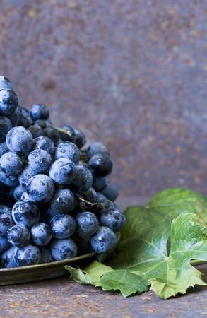 hojas parra: Reci�n lavado uvas rojas en un plato junto a las hojas de vid