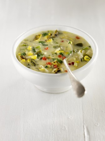 apium graveolens: Corn Chowder with potatoes, red and green peppers, celery, parsley and onions