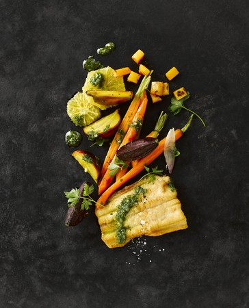 bullhead fish: Sheatfish fillet with beetroot, yellow beets, carrots, herbs, oranges and pesto
