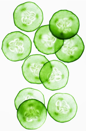 back lit: Back lit slices of cucumber LANG_EVOIMAGES
