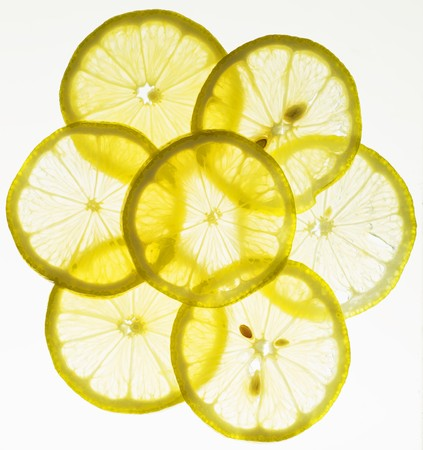 lemon slices: Back lit lemon slices