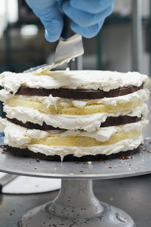 provenance: A chef icing a layer cake with frosting
