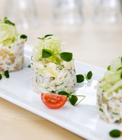 foeniculum vulgare: Mashed potatoes with a crab and fennel salad