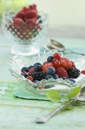 brambleberry: Yogurt with fresh fruit (strawberry, redcurrants, blackberries, raspberries and blueberries) in a glass bowl