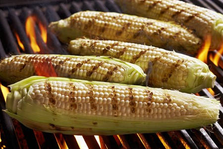sweetcorn: Sweetcorn cobs on the barbecue LANG_EVOIMAGES
