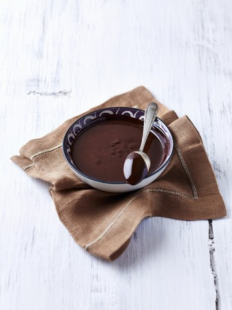brownness: A bowl of melted chocolate and a spoon