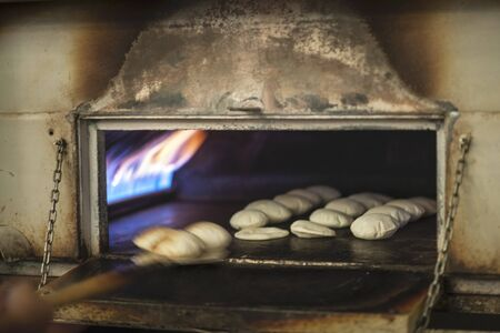 unleavened: Unleavened bread in an oven
