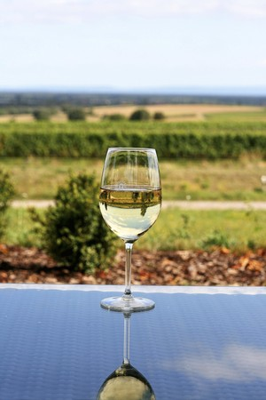 summery: A glass of white wine on a glass table with a view over a summery landscape LANG_EVOIMAGES