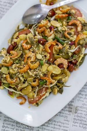 soft sell: A salad of pickled tea leaves and dried prawns LANG_EVOIMAGES