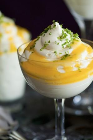 food: Lemon mousse with lime zest