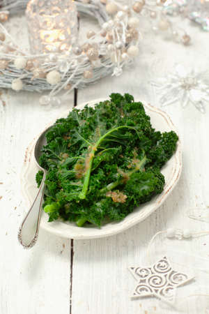 buttered: Green kale with buttered crumbs