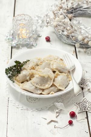 pierogi: Sauerkraut and mushroom pierogi