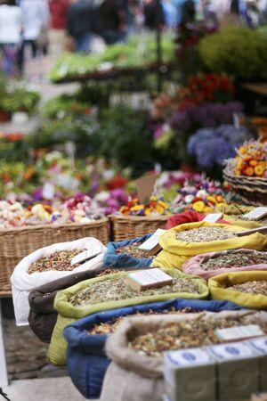 teas: Sacks of herbal teas at a market