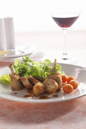side salad: Stuffed chicken leg with a side salad (Thailand)