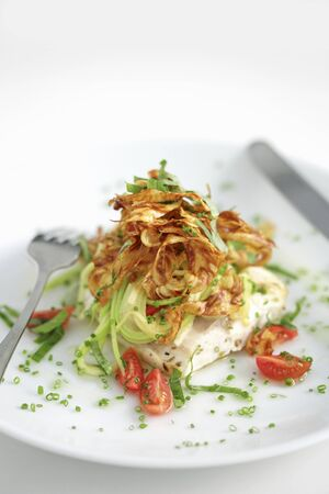 cocozelle: A sea bass with fried artichokes and courgettes