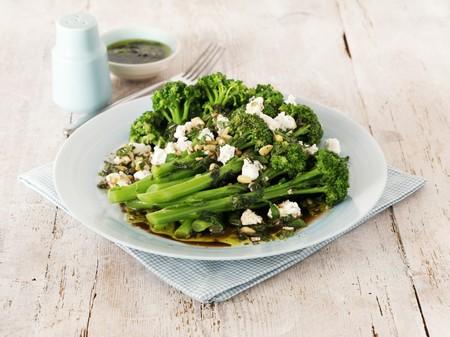 broccoli salad: Broccoli salad with feta cheese, pine nuts and vinaigrette