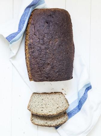 rye bread: Rye bread on a white tea towel