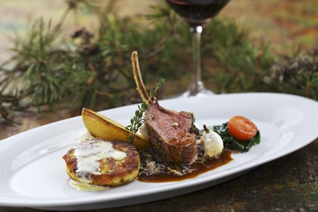 tyrolean: Tyrolean mountain lamb with Kaspressknödel (cheesy bread dumplings with herbs)