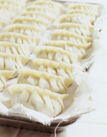 raw cotton: Unsteamed, raw pasta parcels filled with pork on a cotton cloth