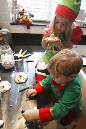 provenance: Children decorating Christmas biscuits in a kitchen