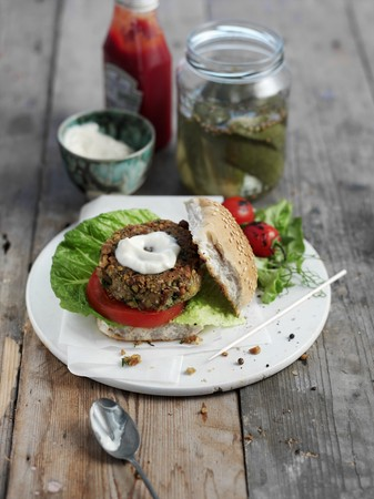 gherkins: A chickpea burger with yogurt and gherkins