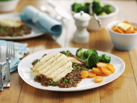 uk cuisine: Cottage pie with a side of vegetables