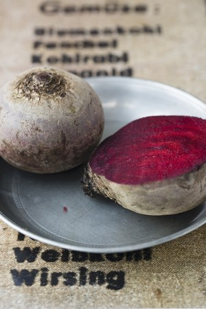 pewter: Beetroot on a pewter plate