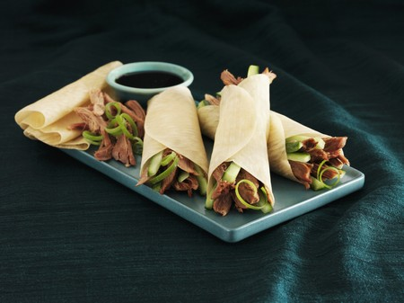duck egg: Peking duck with pancakes and hoisin sauce (China)