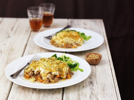 shepards: Two large portions of shepherds pie with beer