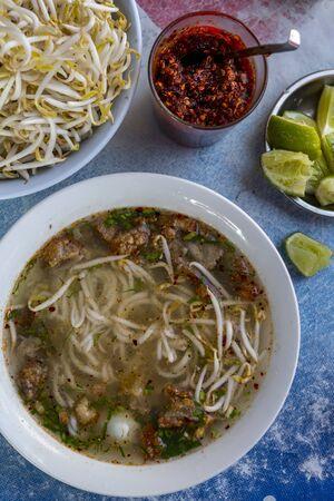 noodle soup: Noodle soup with bean sprouts and chilli paste (Vientiane, Laos)