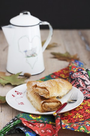 coffeepots: A mini apple and pumpkin strudel served with coffee