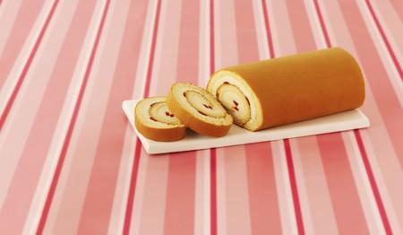 slashed: A strawberry cream Swiss roll, sliced