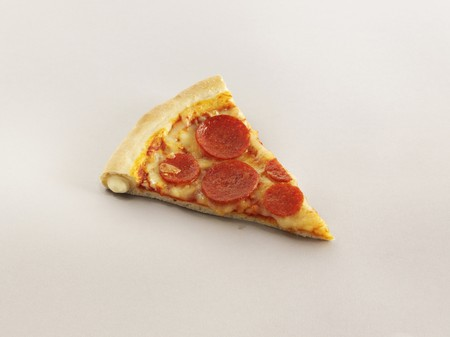 A slice of stuffed crust pizza with pepperoni LANG_EVOIMAGES