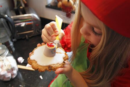 provenance: Girl decorating Christmas biscuits
