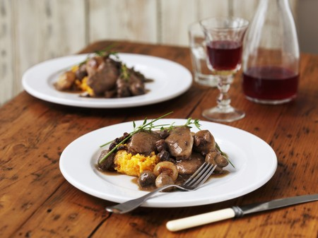 vin: Coq au vin served on butternut squash purée with thyme and chives