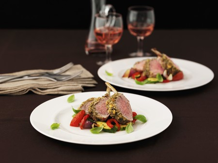 cocozelle: A rack of lamb with Mediterranean vegetables
