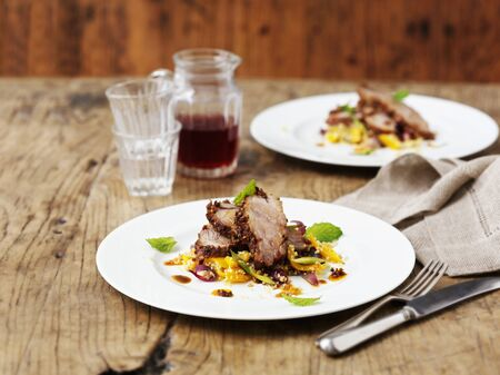 grain and cereal products: Roast shoulder of lamb with citrus fruits and a couscous and mint salad
