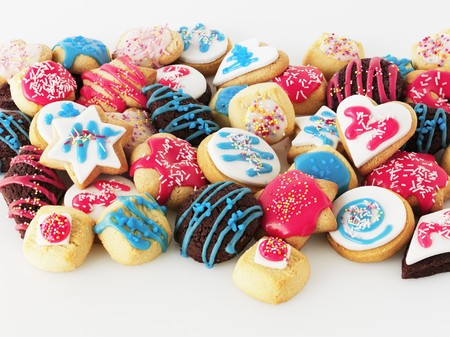 colourfully: A selection of colourfully iced biscuits