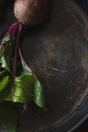 tuberous: Beetroot on a metal tray