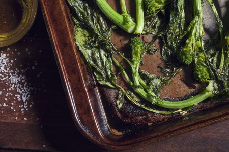 broccolli: Oven-roasted broccoli on a baking tray