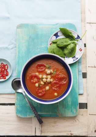 sweet course: Sweet potato and tomato soup with chickpeas