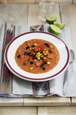 sweetcorn: Sweet potato and tomato soup with sweetcorn, chilli and black beans