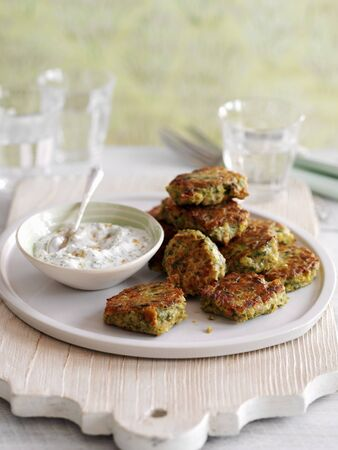 cilantro: Chickpea and chilli fritters with a coriander and yoghurt dip
