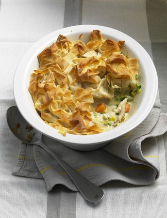 filo pastry: Filo pastry pie with chicken and leek