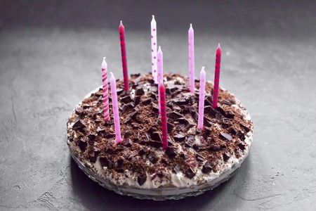 A birthday cake with candles LANG_EVOIMAGES