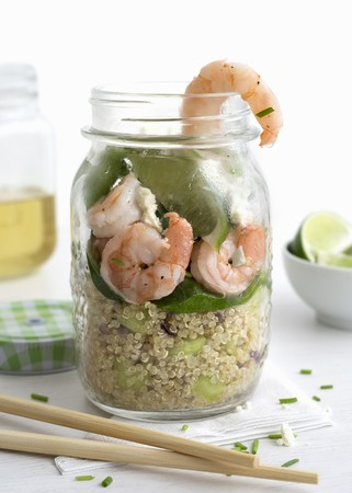 go inside: Giant prawns and quinoa in a glass with lime and baby spinach LANG_EVOIMAGES